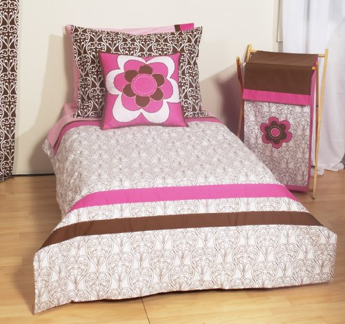 Damask Pink/Choc 4 Toddler Bedding Set