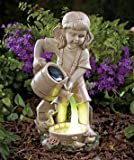 Girl Child with Ducks and Solar Watering Can Garden Yard Statue Ceramic On/off Switch 5-1/4