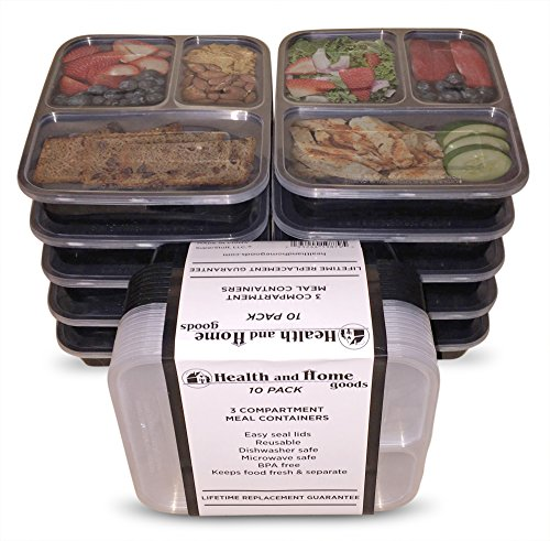 10-pack 3 Compartment Portion Control Containers w/ Sealing Lids. LIFETIME REPLACEMENT GUARANTEE. Makes Perfect: Bento Box, Lunch Box and Food Storage Container. By Health and Home Goods.
