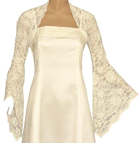 Grace and Flair Ivory Lace Long Bell Sleeve Bolero Shrug