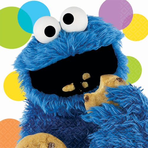 Sesame Street Party Cookie Monster Lunch Napkins (16) - 1