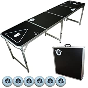 GoPong 8-Foot Portable Beer Pong Tailgate Tables (Black, Football or American Flag) by GoPong