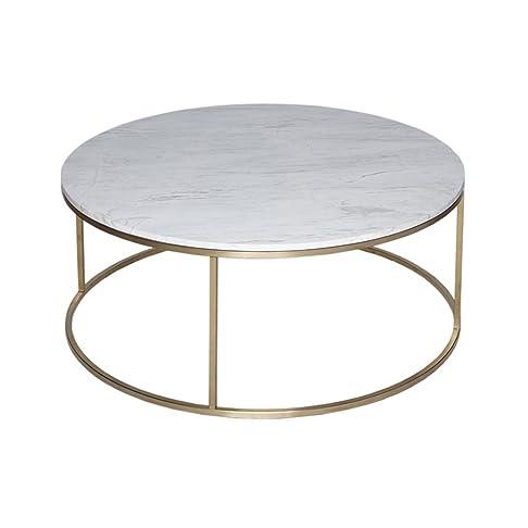 Gillmore Space Oro e marmo bianco contemporanea tavolino circolare in metallo