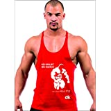Dk BODY BUILDING STRINGER, GYM VEST, VEST, GYM STRINGER VEST 100% COTTON PRINTED - RED