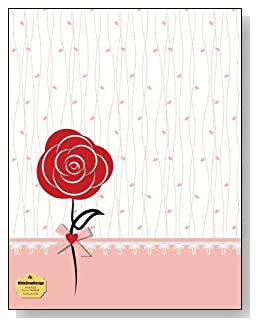 Red Rose On Pink Notebook - A single red rose and a pink trim against a simple background creates a beautiful cover for this wide ruled notebook.