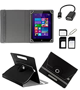 ECellStreet ROTATING 360° PU LEATHER FLIP CASE COVER FOR Ainol Novo 7 Crystal 2 7 INCH TABLET STAND COVER HOLDER - Black + Free OTG Cable + Free Sim Adapter Kit