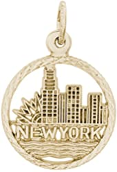 Rembrandt Charms, New York Skyline, Solid Sterling Silver or Gold, Engravable