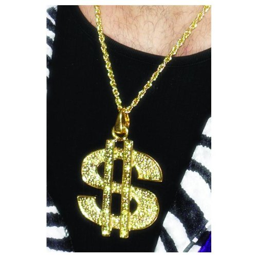Smiffys Gold Dollar Sign Necklace.