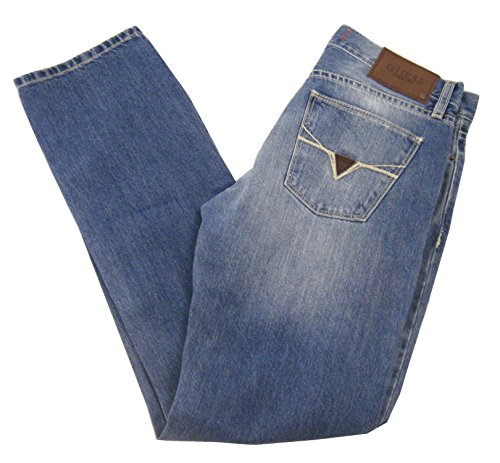 Guess Men's Ryan Slim Straight Del Mar Fit Jeans, Medium Destroyed Wash, 40