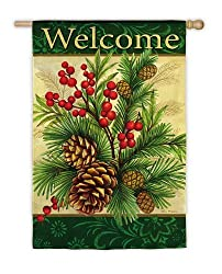 "Festive Welcome Winter Pine Christmas Flag 18"" x 12.5"""