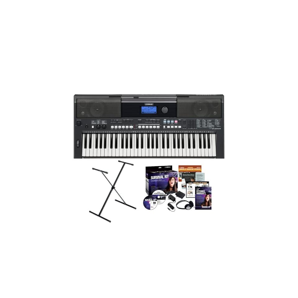 Yamaha PSR E433 61 Key Portable Keyboard Bundle with Yamaha X Style Stand, Power Adapter and Studio Headphones (Includes 2 Year Extended Warranty)