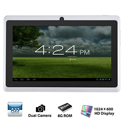 Alldaymall® A88X 7' Quad Core Google Android 4.4 KitKat Tablet PC MID, Dual Camera, HD 1024x600 Capacitive Multi-touch Screen, 8GB Nand Flash, Google Play Pre-load, 3D Game Supported (Advanced version of A88) White