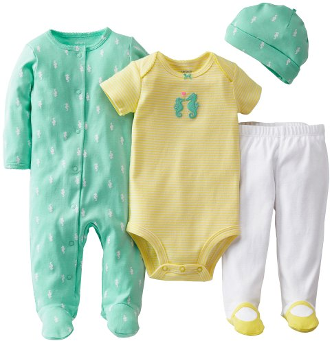 Carter'S Baby Girls' 4 Piece Layette Set - Mint - Newborn