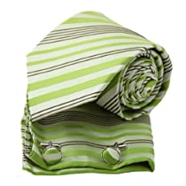 PH1097 Green Stripes Woven Silk Necktie Hanky Cufflinks Present Box Set Olive Drab Discount Gifts By Epoint