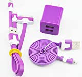 WINCHENG-XC02 1M Length Noodles Data Cable 1 Wall Charger With Two USB ports for Iphone 4 4S 5 5s 5c and Ipad4 & For All Android Phones (!purple)