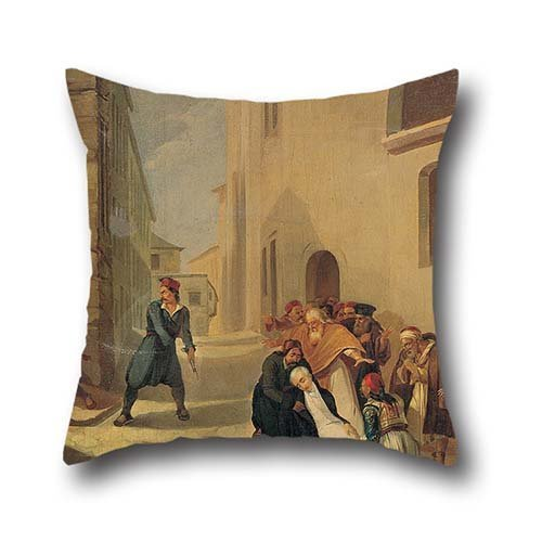 Oil Painting Tsokos Dionysios - The Assassination Of Capodistria Throw Pillow Covers 16 X 16 Inch / 40 By 40 Cm Gift Or Decor For Car Seat,gf,drawing Room,boys,home Office,car - Twin Sides