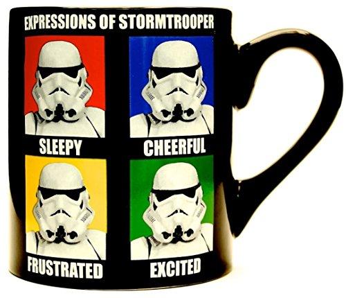 Silver Buffalo SW9932 Star Wars Stormtrooper Expressions Ceramic Mug, 14 oz., Black