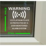 6 x Personalised - Home Protected - Monitored Alarm System Stickers for Windows - 24hr Security Warning Signs for House, Flat, Business, Property-Self Adhesive Vinyl Signs