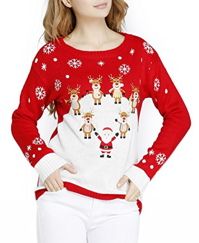 Ugly Christmas Embroid Reindeer Santa Orchestra Party Sweater Jumper