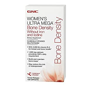 GNC Women's Ultra Mega Bone Density without Iron and Iodine Multivitamin, Caplets, 120 ea