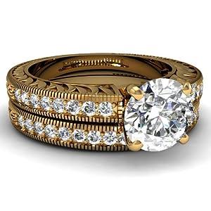 1.40 Ct Round Cut Diamond Vintage Bridal Engagement Rings Pave Set Gold 14K IGI Certificate # S3H77239