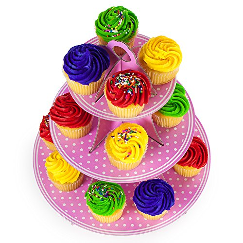 """Pink 3 Tier Cupcake Stand, 14"""" Tall By 12"""" Wide By Pudgy Pedro'S Party Supplies (Polka Dot)"""