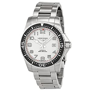 Longines Hydro Conquest White Dial Black Bezel Stainless Steel Mens Watch L36954136