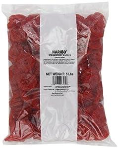 Haribo Gummi Candy, Strawberry Licorice Wheels, 5-Pound Bag