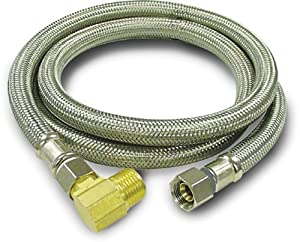 Kissler+%26+Company+Inc. Kissler & Company Inc. 88-2048 Braided Dishwasher Connector, 3/8-Inch by 3/8-Inch with 1/2-Inch Elbow, Stainless Steel