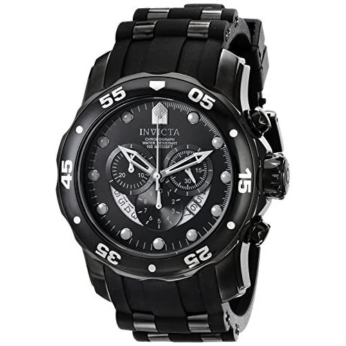Invicta Pro Diver Men's Quartz Watch with Black Dial Chronograph Display and Black PU Strap in Black Plated Stainless...