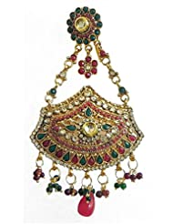 DollsofIndia Polki Jhoomar - Worn On The Left Side Of The Head Or As Mang Tika - Stone, Bead And Metal - Red - B00XLE2X70