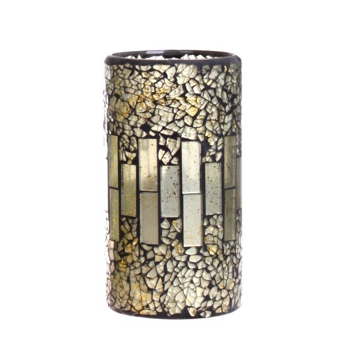 Dfl 3*6 Inch Grey Crack Pattern Mosaic Glass With Flameless Led Candle With Timer,Work With 2 C Battery