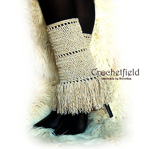 Beige Fringe Leg warmers, boot cuffs, boot socks, Crochet Dance Ballet Leg Warmers, fitness boot socks, flower leggings