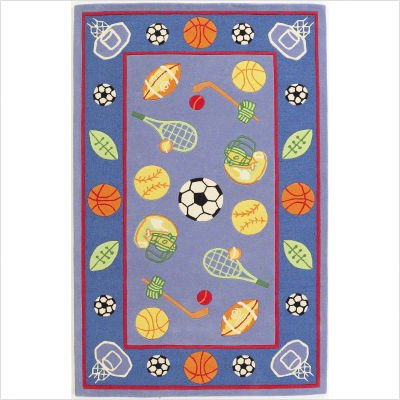 "Kidding Around Blue / Red Let's Play Ball Kids Rug Size: 7'6"" x 9'6"" Rectangle"