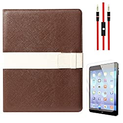 DMG Lishen Smart Case Cover for Apple iPad 2/3/4 (Brown) + AUX Cable + Matte Screen