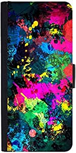 Snoogg Splash Paints Graphic Snap On Hard Back Leather + Pc Flip Cover Samsun...