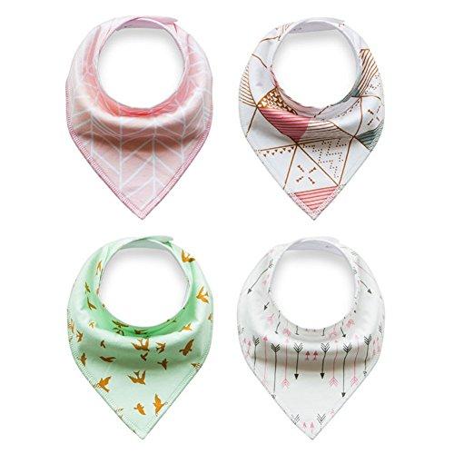 ICSTH Toddler Infant Baby Bib 100% Cotton Absorbent Bandana Dribble Bib with Adjustable Snaps Saliva Towel Burp Cloth 4Pcs Set