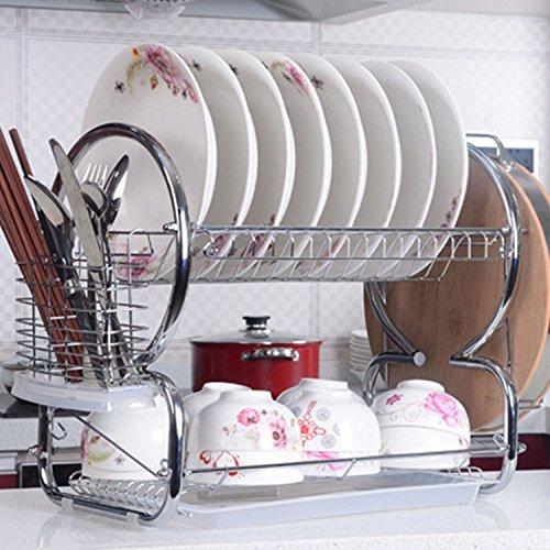 Gracelove 2 Tier Stainless Steel Kitchen Dish Rack Cup Drying Rack Drainer Dryer Tray Cutlery Holder Organizer (Silver)