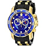 Invicta 6983 Pro Diver Yellow Gold/Blue Chronograph Men's Watch with Polyurethane Band