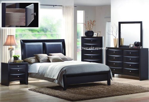 4pcs Queen Size Bedroom Set - Black Finish