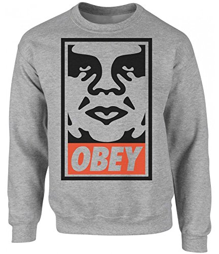 Obey Poster With Face Unisex Crew Neck Sweatshirt Large