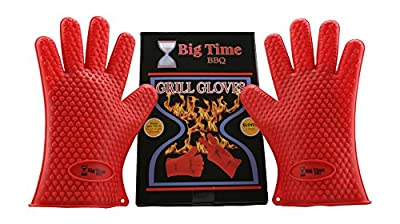 Big Time BBQ Silicone Heat Resistant Barbecue Grill Gloves and Oven Mitts With Fingers Perfect For Grilling Kitchen Cooking Baking Smoking Meat - Waterproof & Dishwasher Safe Non Slip Grip Potholders