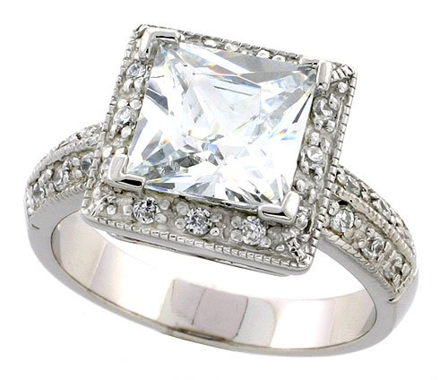 Sterling Silver Vintage Style Square shaped Engagement Ring w Rhodium Platin