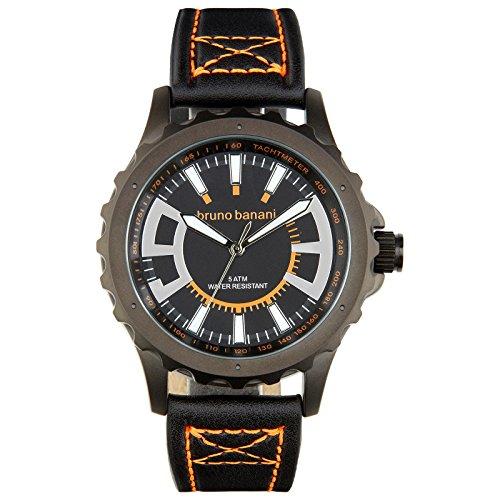 Bruno Banani Men's Quartz Watch Meros Leather Bracelet Black Dial schwarz Trend Watch UBR30024