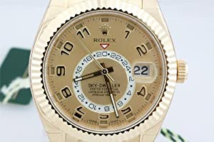 Rolex Sky Dweller Champagne Dial GMT 18k Yellow Gold Mens Watch 326938CAO