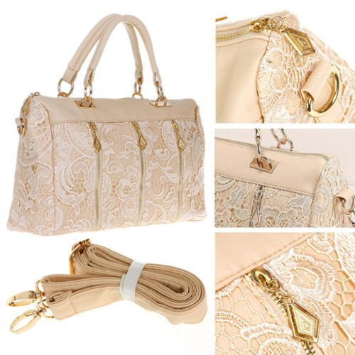 Lace Handbag Fashion Vintage Women PU Leather Messenger Tote Shoulder Bag LOT FS Color Beige (Kirby Vacuum Bag Clip compare prices)