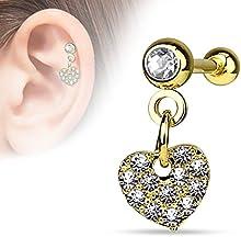 Kultpiercing-Helix Piercing Pendientes Paved Heart Dangle