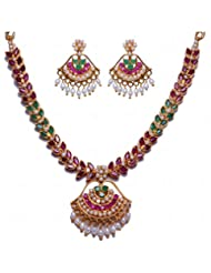 Handmade Pearl Ruby & Emerald Stone Studded Necklace & Earrings Set