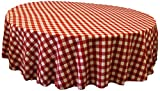 LA Linen Poly Checkered Round Tablecloth, 72-Inch, Red/White