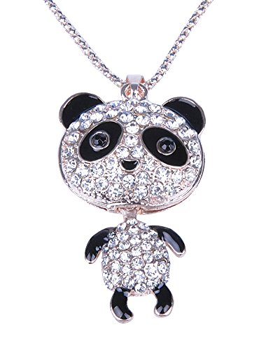 MBIGM Cute Full Diamonds Panda Pendant Necklace - 1